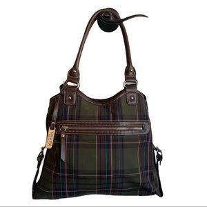 Chaps Green Tartan Plaid Shoulder Handbag